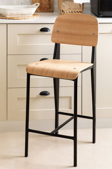 High Stool with Wooden Backrest (67 cm) And