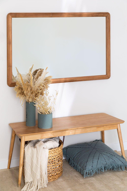 Teak Wood Wall Mirror Uesca, gallery image 1