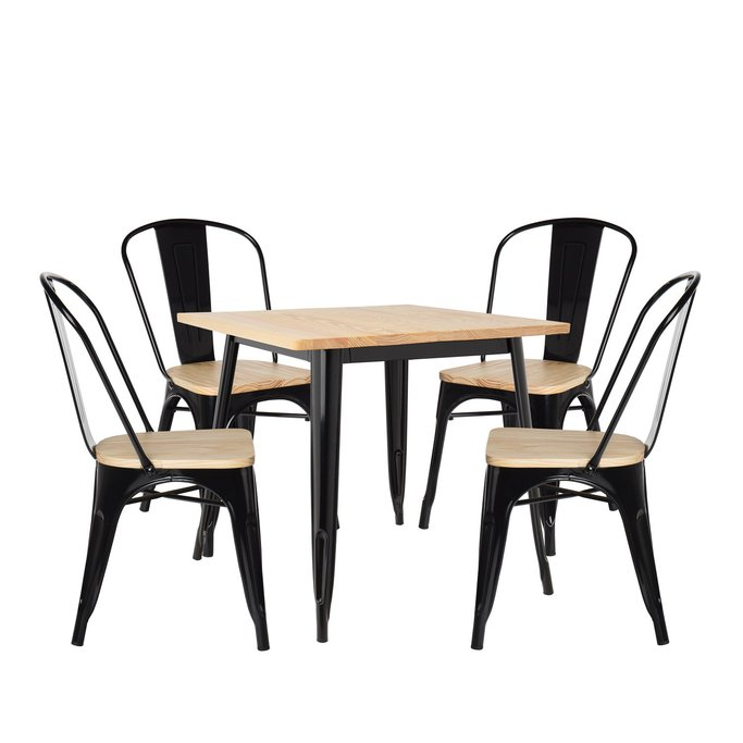 LIX Wood Table Set (80x80) & 4 LIX Wood Chairs, gallery image 1