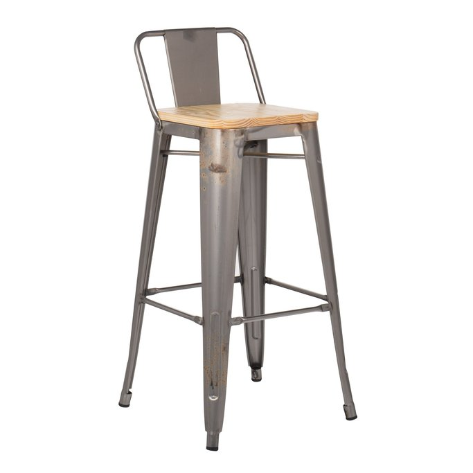 High Stool with  Wooden Backrest LIX Brushed, gallery image 1