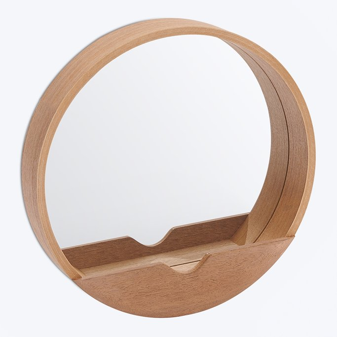 Round Wall Mirror with Wooden Shelf Vern , gallery image 1