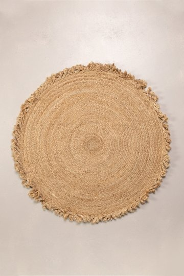 Round Woven Jute Natural Rug Ondes