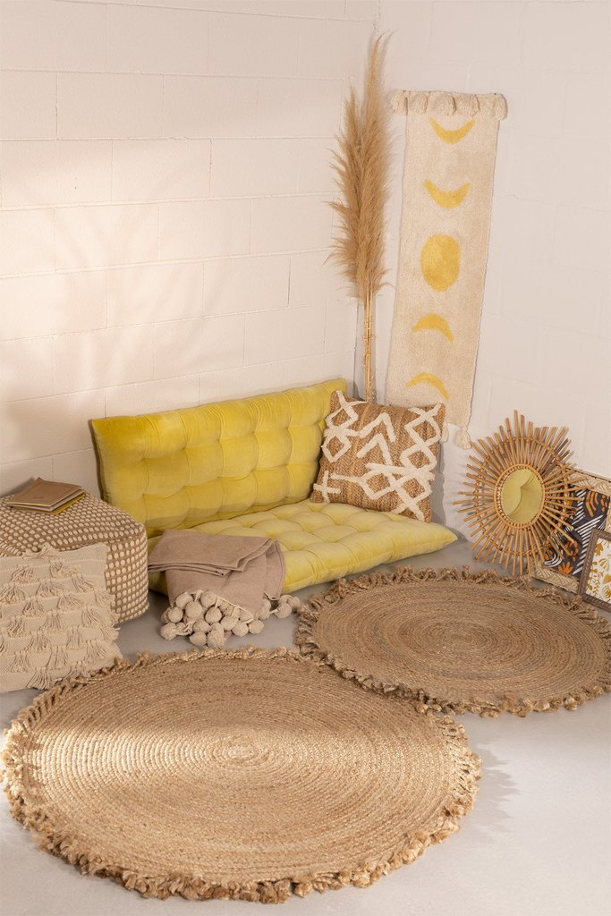 Round Woven Jute Natural Rug Ondes, gallery image 1
