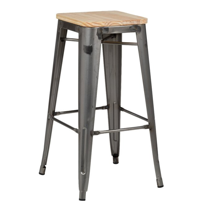 High Stool in Steel LIX Brushed Wood, gallery image 1