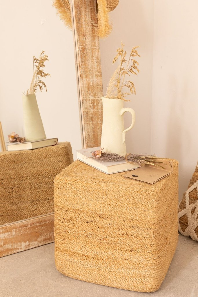 Natural Jute Square Pouffe Orsen, gallery image 1