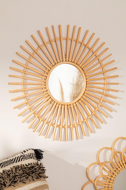 Round Wall Mirror in Rattan (Ø60 cm) Beku, gallery image 1