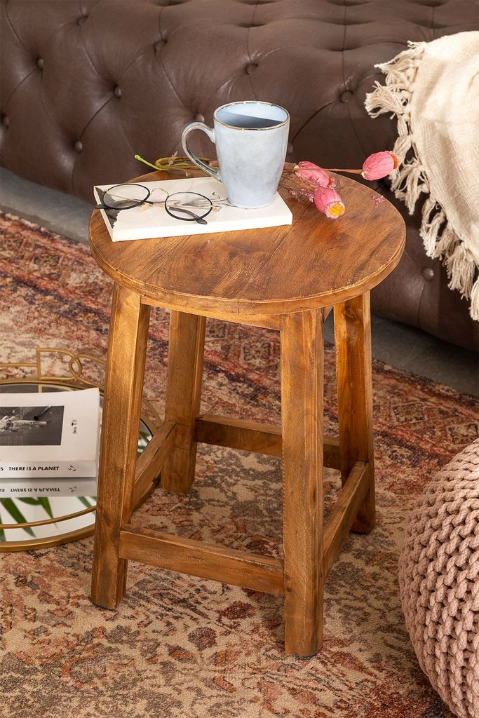 Lare Recycled Wood Stool, gallery image 1