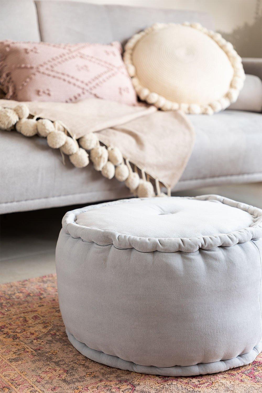 Round Velvet Pouffe Kelli, gallery image 1