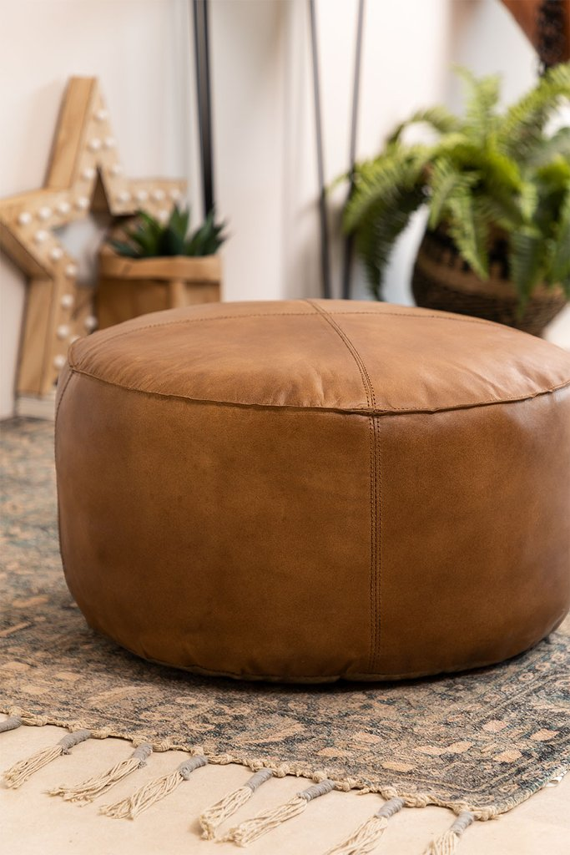 Round Leather Pouffe Tatta , gallery image 1