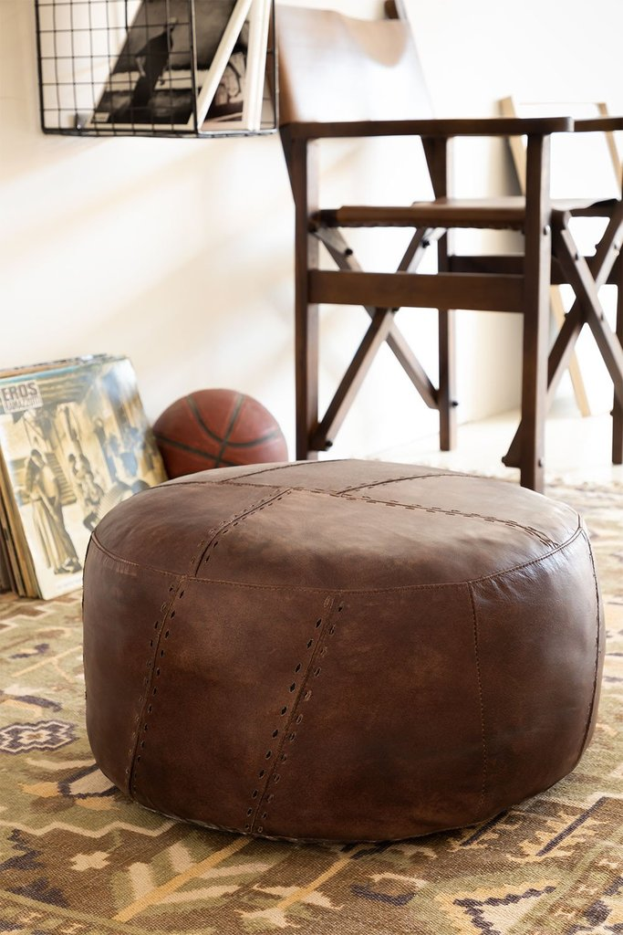 Round Leather Pouffe Mael , gallery image 1