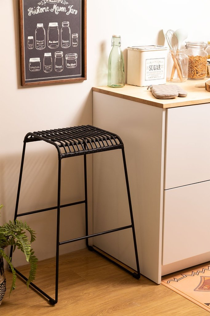 High Stool in Synthetic Rattan Saon, gallery image 1