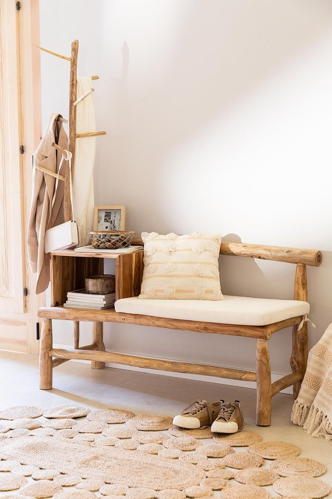 Narel Wood Bench with Coat Rack, gallery image 1
