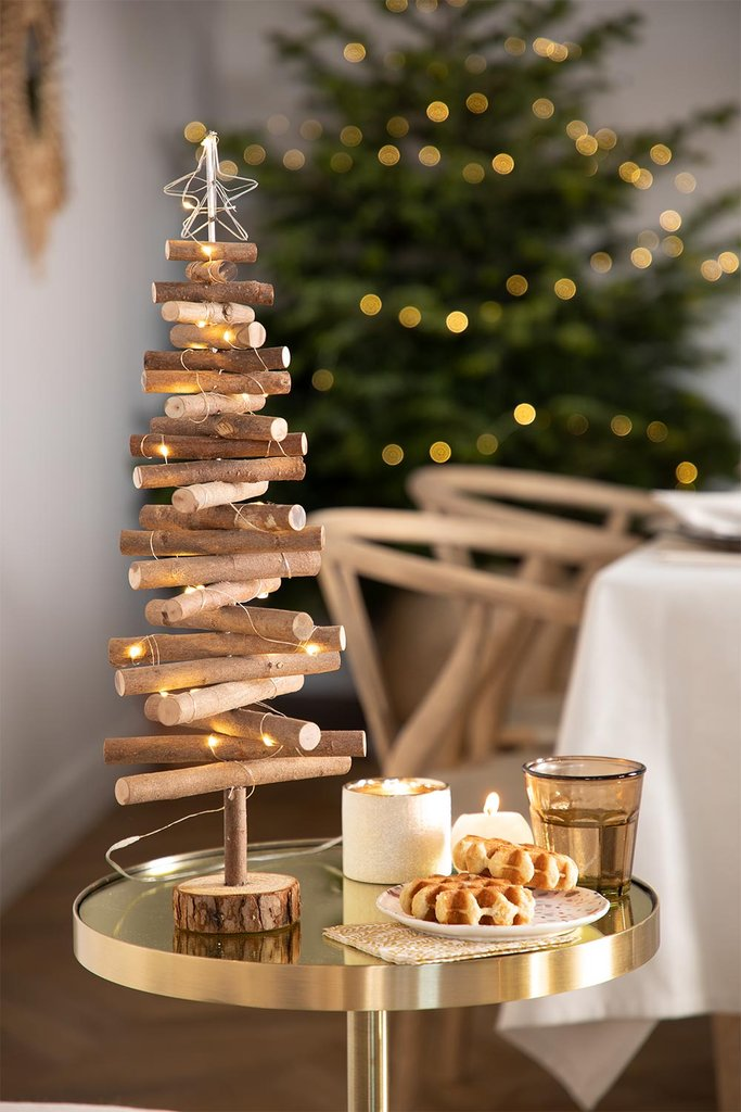 WOODEN CHRISTMAS TREE WITH LED LIGHTS MADI, gallery image 1