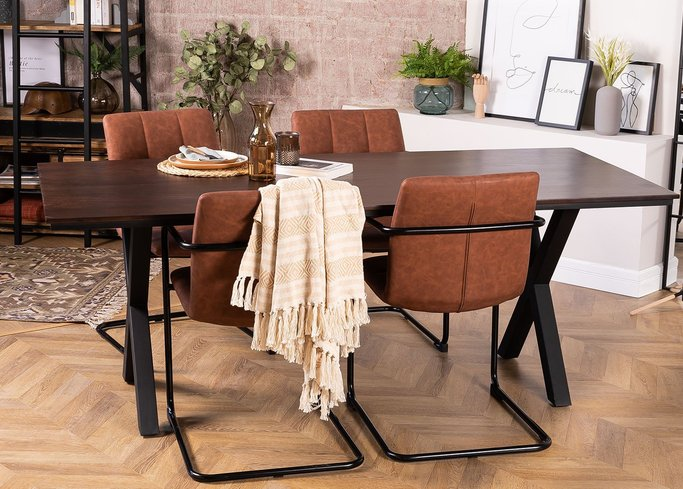 Acacia Wood Dining Table 200 cm Mhosit X, gallery image 855407