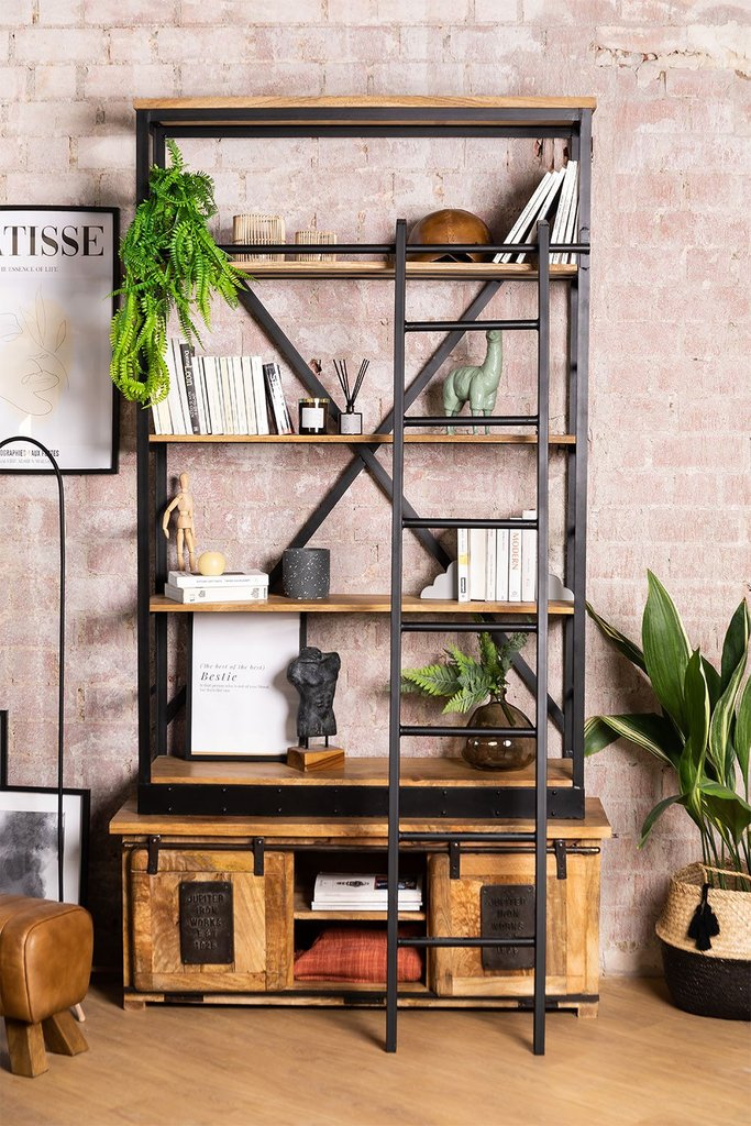Recycled Wooden Bookcase with Ladder Uain , gallery image 1