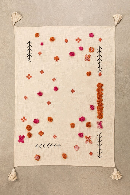 Plaid Cotton Pom Blanket, gallery image 1