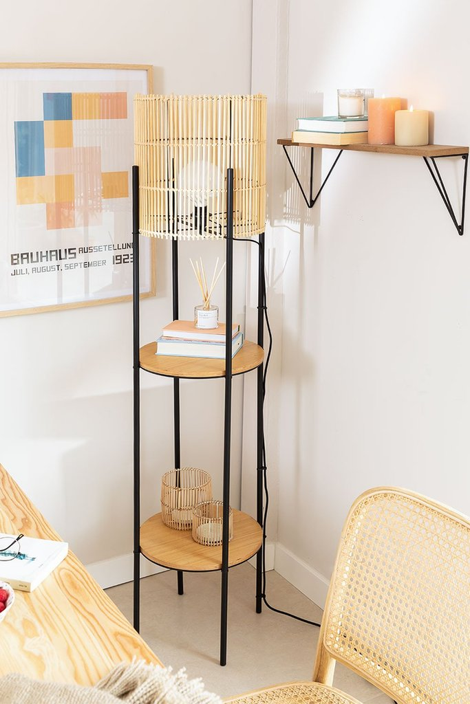 Floor Lamp with Bamboo Shelves Loopa, gallery image 1