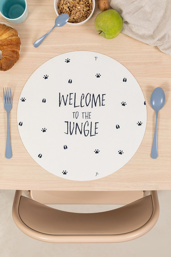 Jungle Kids Round Vinyl Tablecloth, gallery image 1