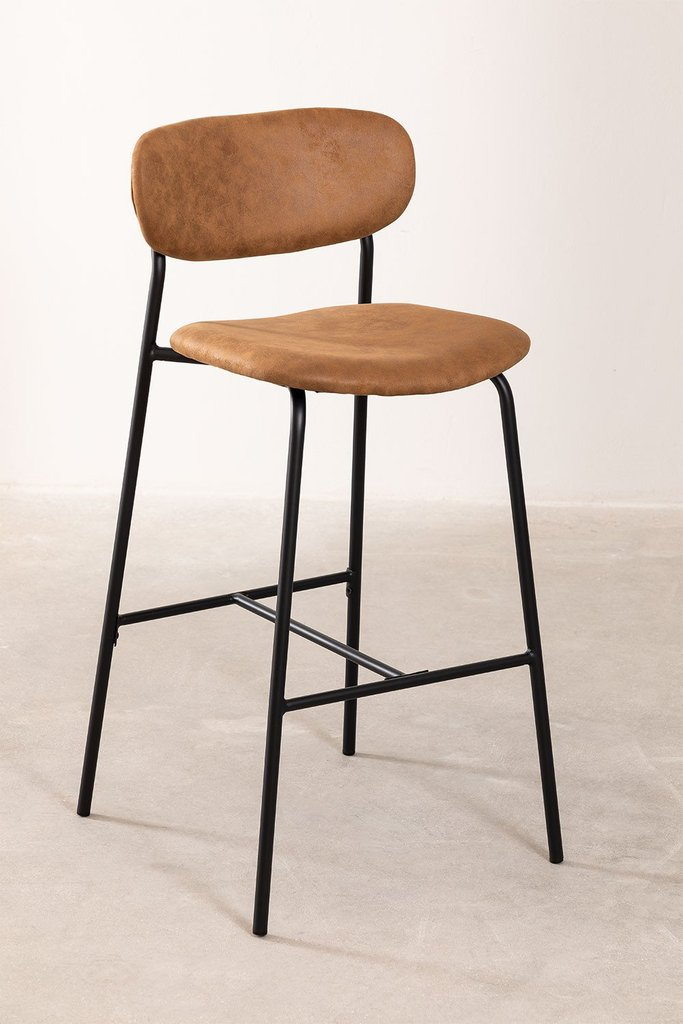Leatherette High Stool with Backrest Abix, gallery image 1