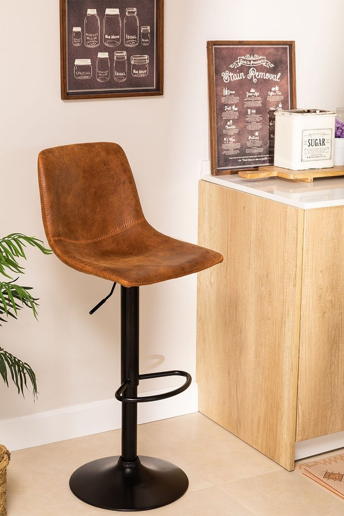 Height Adjustable Leatherette Stool Ody Style, gallery image 1