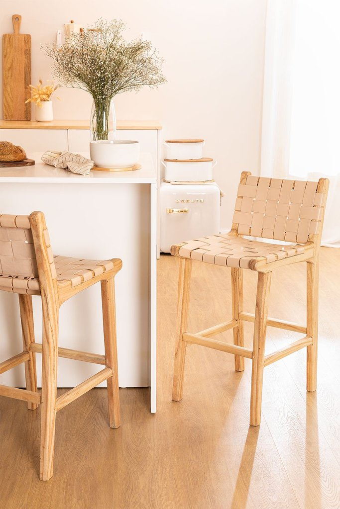Wood & Leather High Stool Zaid, gallery image 1