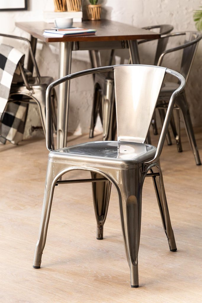 Brushed LIX Chair with Armrests, gallery image 1