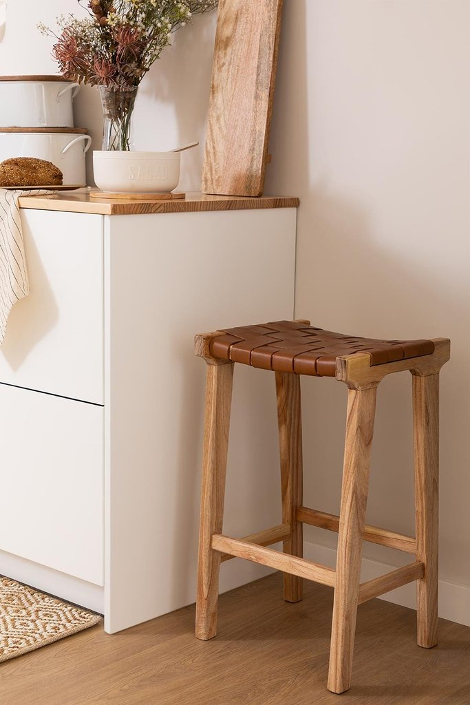Zaid Wood and Leather Stool, gallery image 1