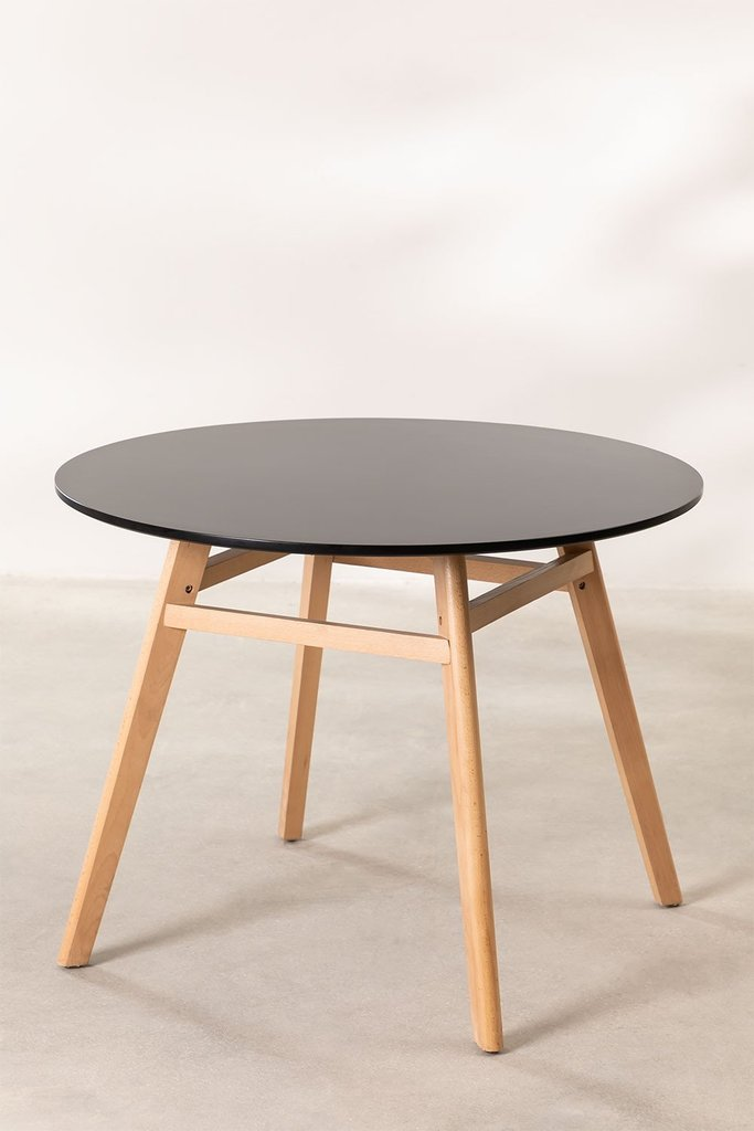 Round Dining Table in MDF and Beech Wood (Ø80 -Ø120 cm) Scand Nordic, gallery image 1