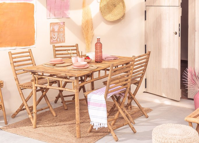 Marilin Bamboo Garden Table and 4 Chairs Set, gallery image 1
