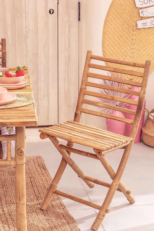 Marilin Bamboo Folding Garden Chair, gallery image 1