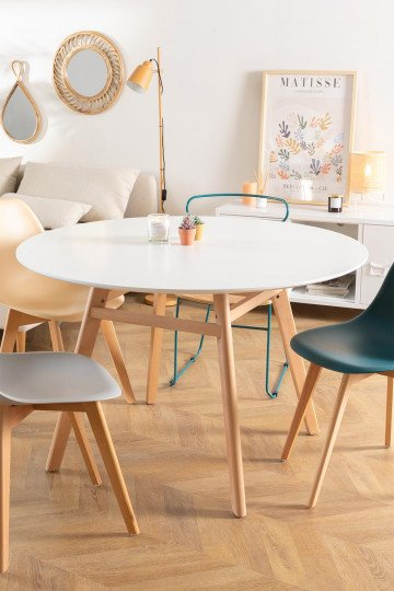 Round Dining Table in MDF and Beech Wood (Ø80 -Ø120 cm) Scand Nordic