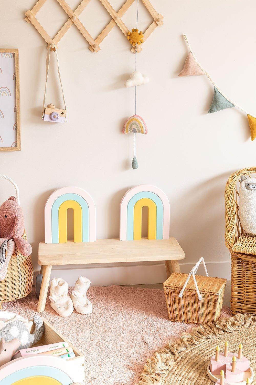 Mini Rainbow Kids Wood Bench, gallery image 1