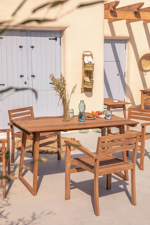 Tavolo da giardino rettangolare in legno di teak (140x80 cm) Sushan, immagine della galleria 1