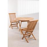 Set tavolo rotondo (Ø100 cm) e 2 sedie pieghevoli in legno di teak Pira, immagine in miniatura 2