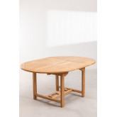 Set tavolo allungabile (120-170X75 cm) e 4 sedie da giardino pieghevoli in legno di teak Pira, immagine in miniatura 3