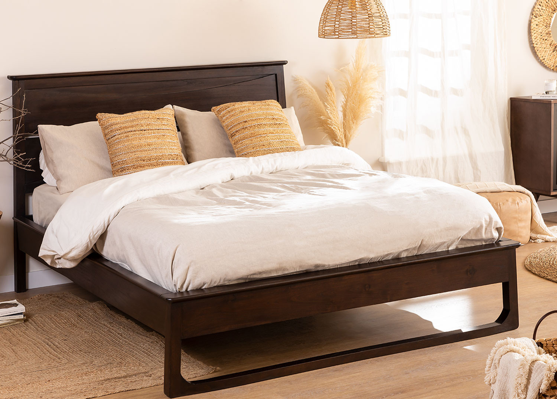 Letto in legno di teak per materasso Somy 160 cm, immagine della galleria 1