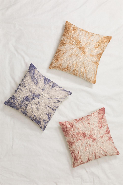 Cuscino quadrato in cotone tie dye (45x45 cm) Moanda, immagine della galleria 1