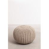 Puff rotondo lavorato a maglia grigia, immagine in miniatura 2