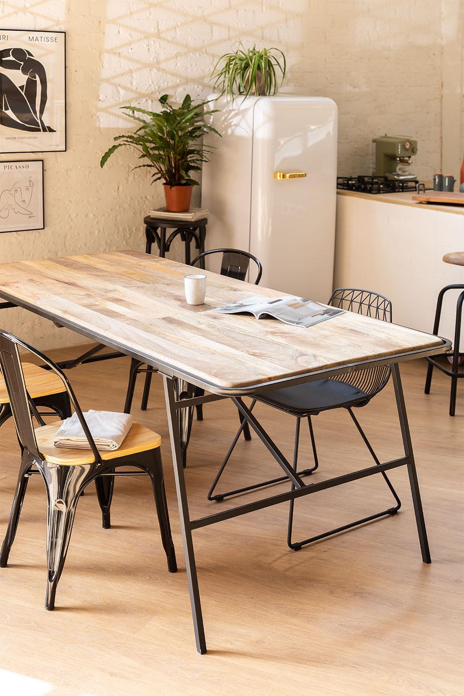 Tavolo da pranzo rettangolare in legno (200x91cm) Nathar Style, immagine della galleria 1
