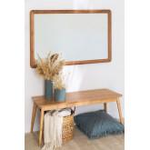 Specchio da parete in legno di teak Uesca, immagine in miniatura 1