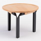 Tavolino in Legno di Frassino e Acciaio Almuh Ø60 cm, immagine in miniatura 2