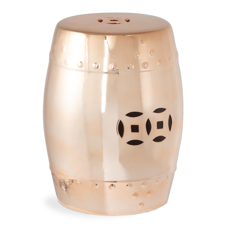 Sgabello decorativo basso in ceramica metallizzata Edal, immagine della galleria 1