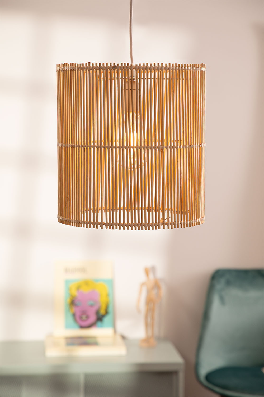 Lampada da soffitto Kub in rattan (Ø30 cm), immagine della galleria 1