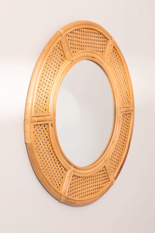 Specchio da parete rotondo in rattan (Ø81 cm) Lopo, immagine della galleria 1