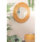 Specchio da parete rotondo in rattan (Ø81 cm) Lopo, immagine in miniatura 5