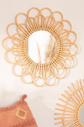 Specchio rotondo da parete in rattan (Ø60 cm) Krayo