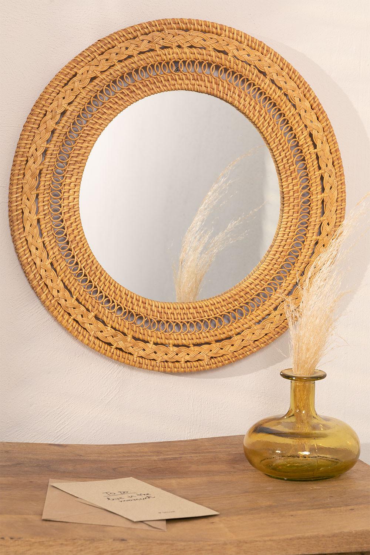 Specchio rotondo da parete in rattan (Ø41 cm) Menit, immagine della galleria 1