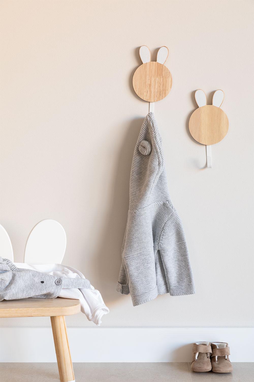 Appendiabiti da parete in legno Buny Kids, immagine della galleria 1