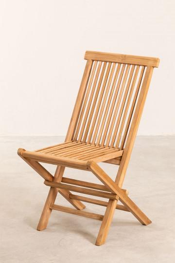 Confezione da 2 sedie da giardino pieghevoli in legno di teak Pira