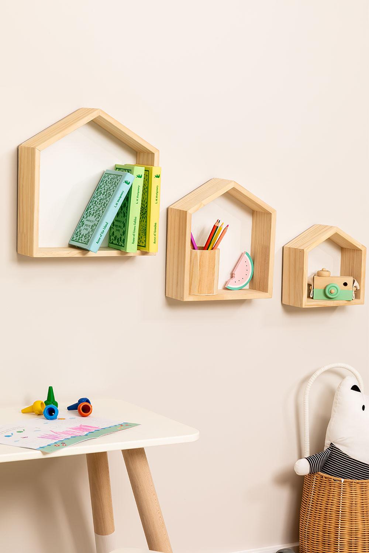 Set di 3 mensole da parete in legno di pino Menlo per bambini, immagine della galleria 1